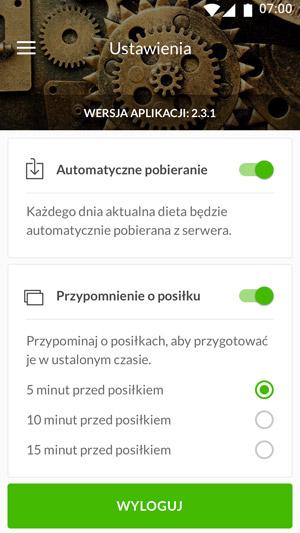 Ustawienia aplikacji Selfdiet
