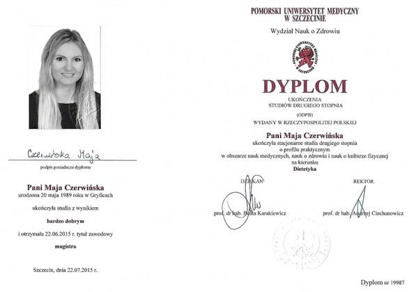 Dyplom ukończenia Pomorskiego Uniewrsytetu Medycznego w Szczecinie